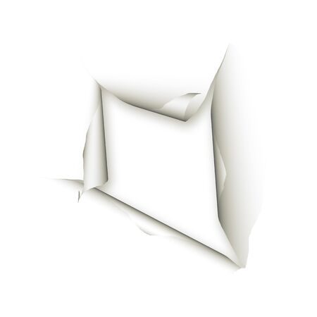 Ripped paper with shadows over white background