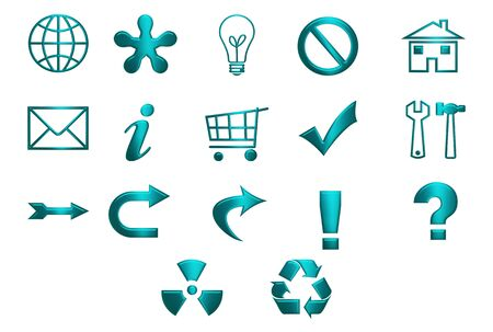 Turquoise icons and symbols isolated over white background photo