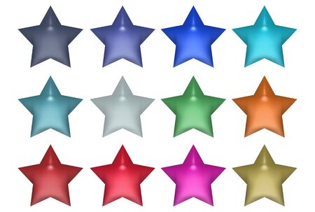 Set of stars in different colors isolated over white background photo