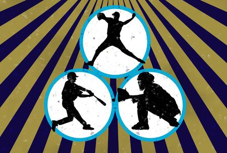 homer: Grunge baseball background with players an rays