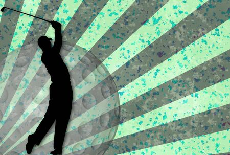 Grunge golf illustration with silhouette of a player ball and rays illustration