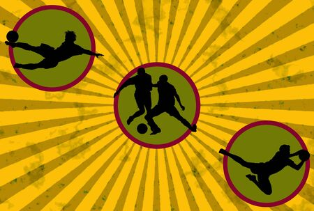 Grunge soccer illustration with player silhouettes illustration