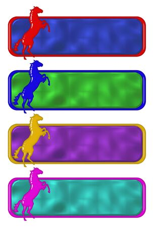 rampant: Rampant horse plates in different colors over white background Stock Photo