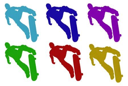 Furry skateboarder silhouettes in different colors over white background photo