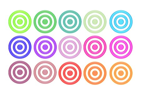 Aqua bulls eyes in different colors over white background photo