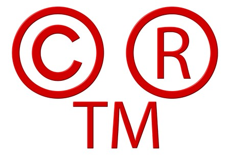 trademark: Copyright registered and trademark symbols isolated over white