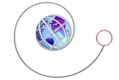 unwind: Yo-Yo made of a world globe in a silver cage Stock Photo