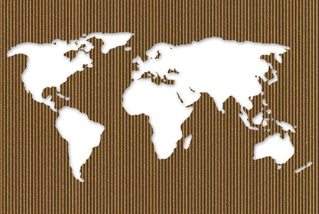 Cardboard cut out world map over white background Stock Photo - 4286875