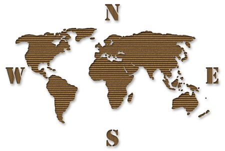 Cardboard world map isolated over white background Stock Photo - 4286817