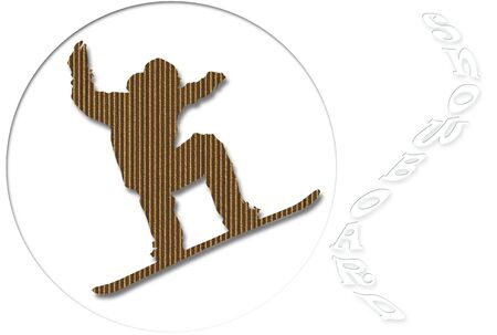 Snowboard illustration with cardboard silhouette over white illustration