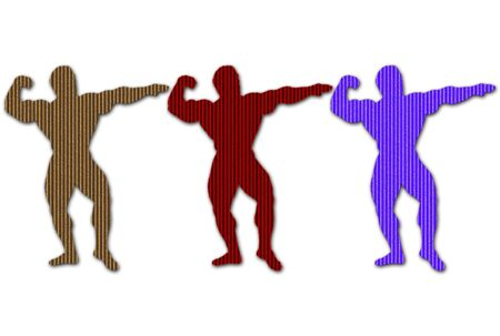 Cardboard body builders silhouettes in different colors over white Stock Photo - 4286789