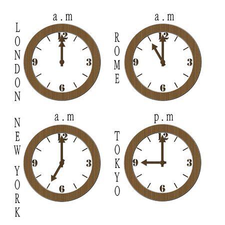Relojes de negocio hechos de cart�n sobre fondo blanco  Foto de archivo - 4286834