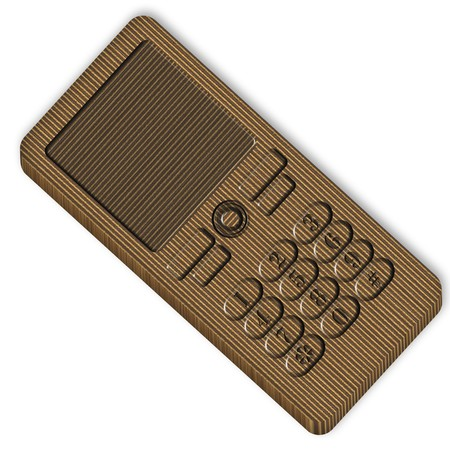 Cardboard cell phone over white background photo