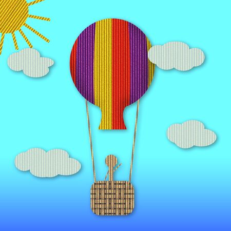 Illustration of a man on a hot air balloon Stock Illustration - 4286835