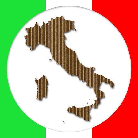 Cardboard Italy silhouette into circular frame over italian flag photo