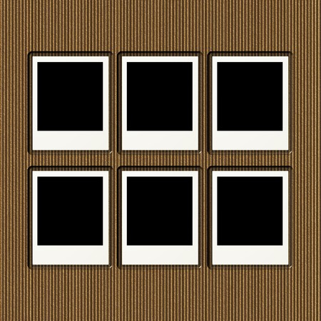 Cardboard photo album page with six blank frames Stock Photo - 4286880