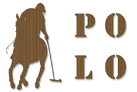 Cardboard polo player background with silhouette and writing over white photo