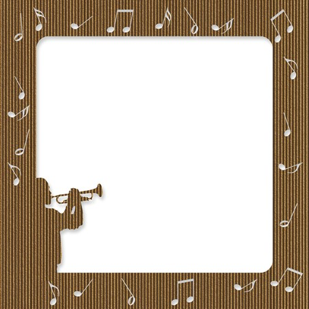 Cardboard frame with silhouette of a trumpet player and notes