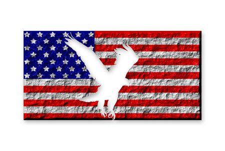 silhouette aquila: Bandiera americana di pietra con aquila intagliato silhouette