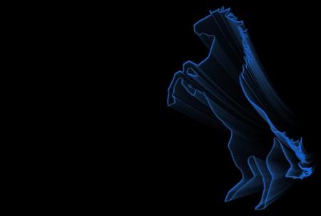 rampant: Rampant blue horse silhouette over black background Stock Photo