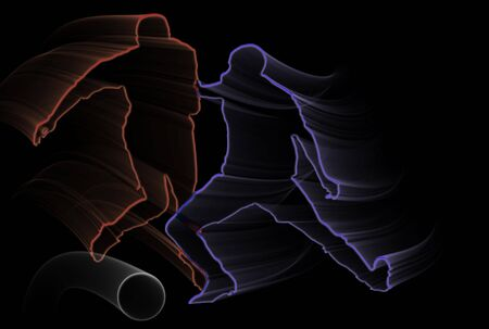 world championship: Blue and red soccer players silhouettes over black background
