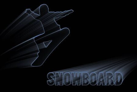 Silhouette of a snowboarder with writing over black background photo