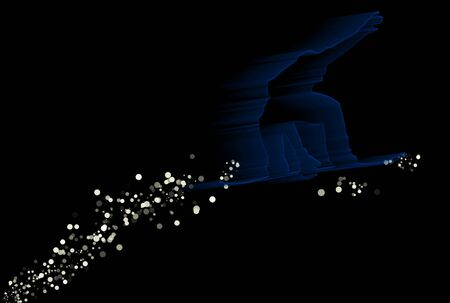 Silhouette of a snowboarder with snow trail over black background photo