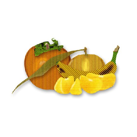 clementine fruit: Still life made of fruit with banana persimmon and clementine