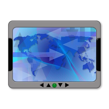 Illustration of a gps navigator with world map Stock Illustration - 4337662