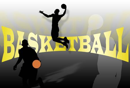 Basketball background with players silhouettes and writing Stock Photo