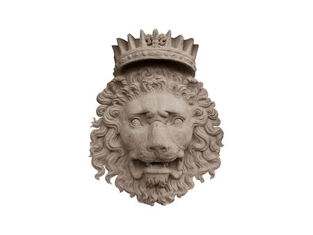 Bas-relief of a crowned lion made of stone