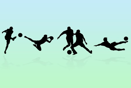Soccer players silhouettes over green and blue background