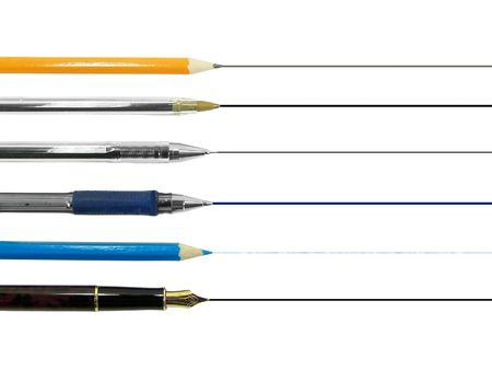 Different kind of writing tools isolated over white backgroind