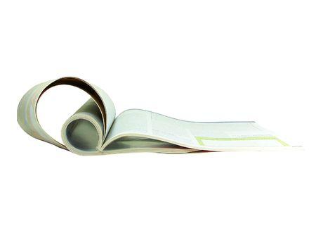 Folded magazine isolated over white background