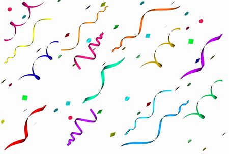 Falling confetti in different colors and shapes over white background Stock Photo