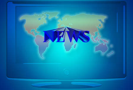 telecast: Tv News illustration with flat screen and world map