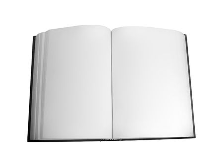 Blank open book isolated over white background photo