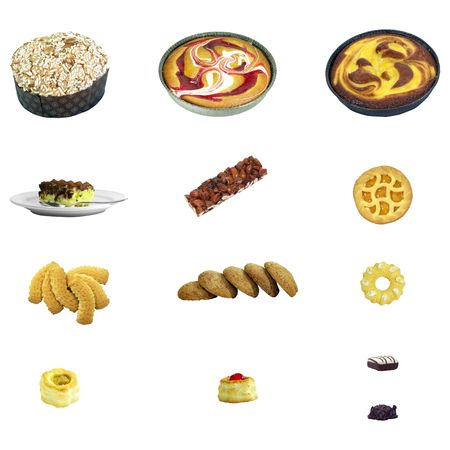 jam tarts: Assorted delicious sweets isolated over white background