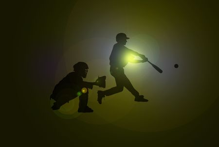 Baseball players with silhouettes over dark background with lens flare Stock Photo
