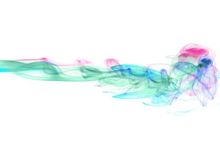 Smoke swirls in different colors over white background