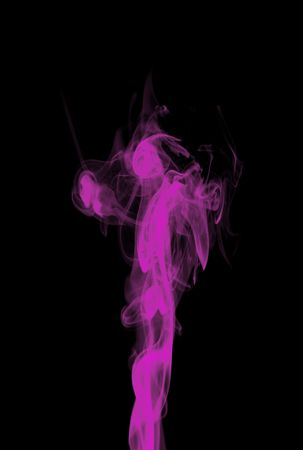 pink smoke: Pink fluorescent puffs of smoke over black background