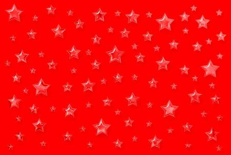 Plenty of glassy stars over red background photo