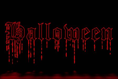 Halloween dripping glowing writing over black background photo