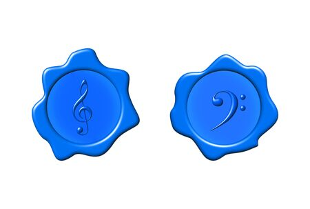 clefs: Music seals with clefs over white background Stock Photo