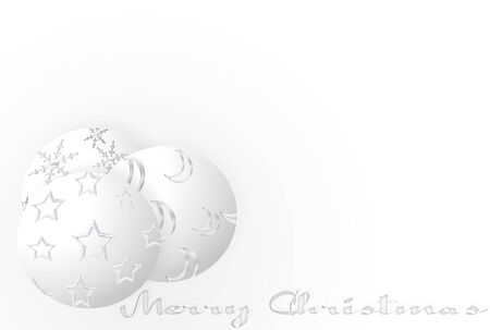 moons: White Christmas with balls stars moons and snowflakes