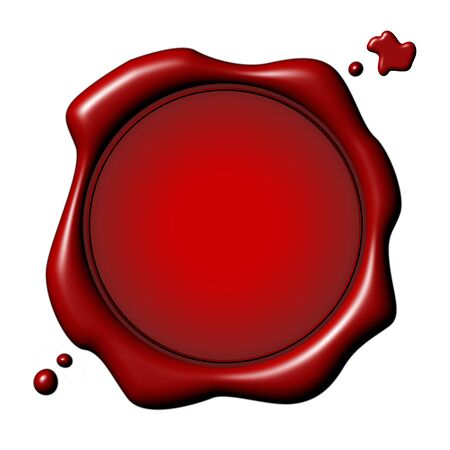 Customizable red seal with drops over white background