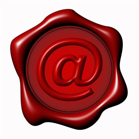 electronic mail: Wax seal with e-mail symbol over white background Stock Photo