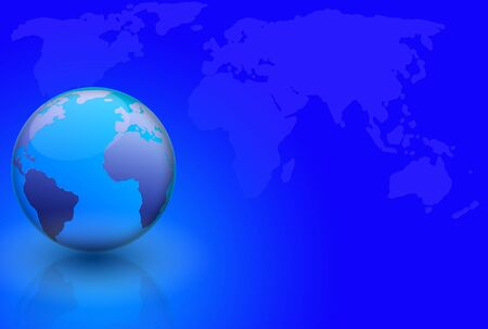 World globe and map over blue background