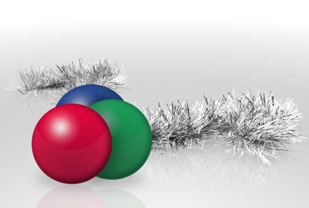 Christmas garland and balls reflecting over light background Stock Photo - 5850655