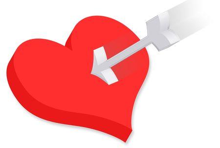 heartbreaker: Valentine 3D con coraz�n rojo y flecha de plata